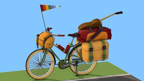 isometric art lowpoly model tourist bike ride - 3DOcean Item for Sale
