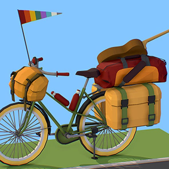 isometric art lowpoly model tourist bike ride