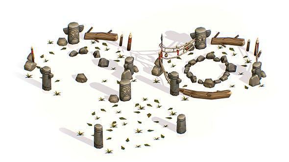 Handpaint Cartoon Place for Ritual Bonfire - 3DOcean Item for Sale