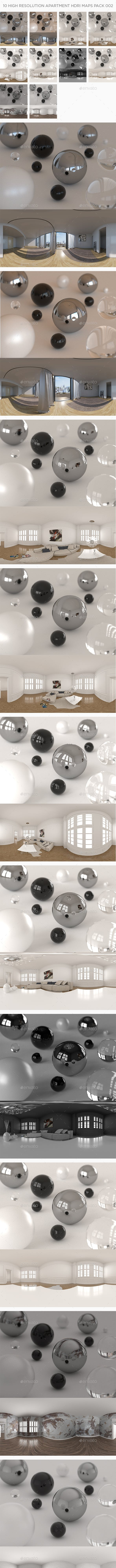 10 High Resolution Apartment HDRi Maps Pack 002 - 3DOcean Item for Sale
