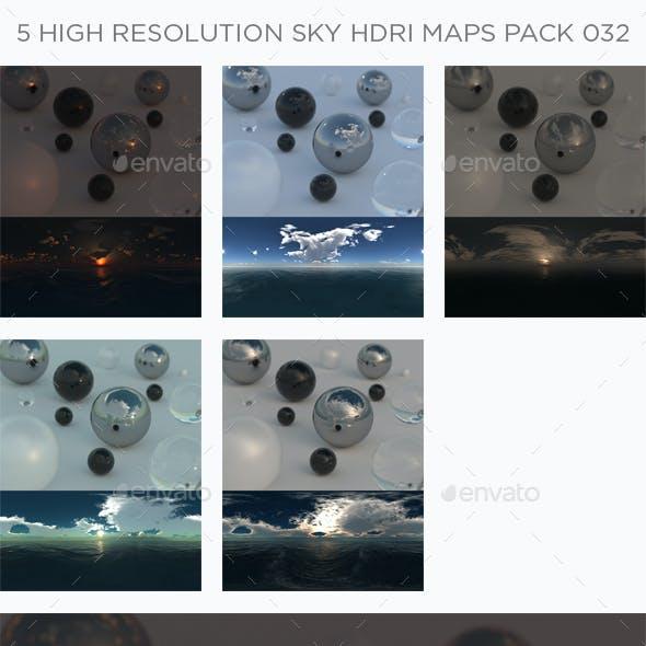 5 High Resolution Sky HDRi Maps Pack 032