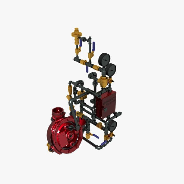 Deluge Valve with Vertical Conventional Trim 3D model - 3DOcean Item for Sale