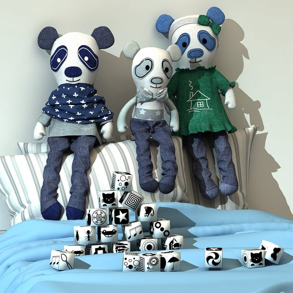 Bellas world textile handmade bears and cubes 3D model
