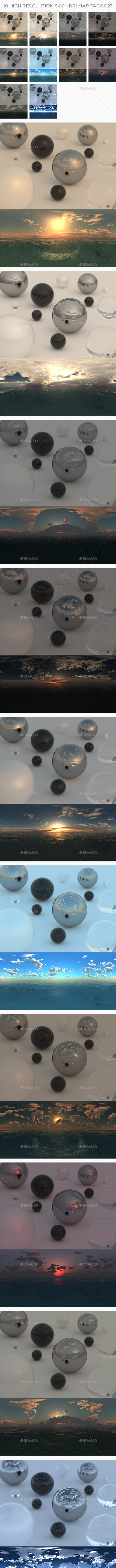 10 High Resolution Sky HDRi Maps Pack 027 - 3DOcean Item for Sale