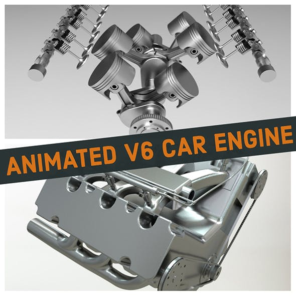 V6 Car Engine - Fully Rigged and Animated