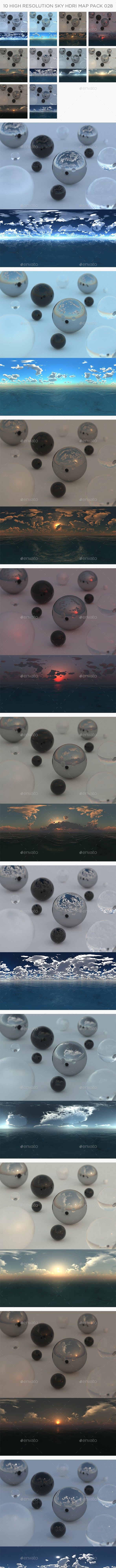 10 High Resolution Sky HDRi Maps Pack 028 - 3DOcean Item for Sale