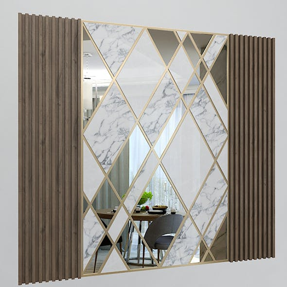 Wall Decorate Panel with Mirrors, Marble and Wood - 3DOcean Item for Sale