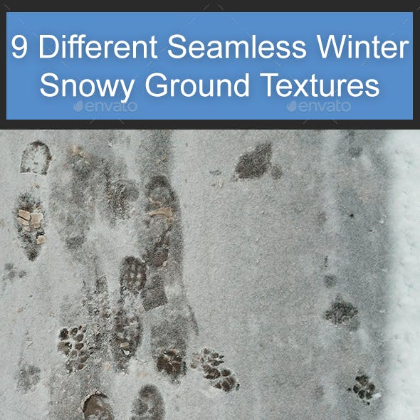 9 Different Seamless Winter Snowy Ground Textures