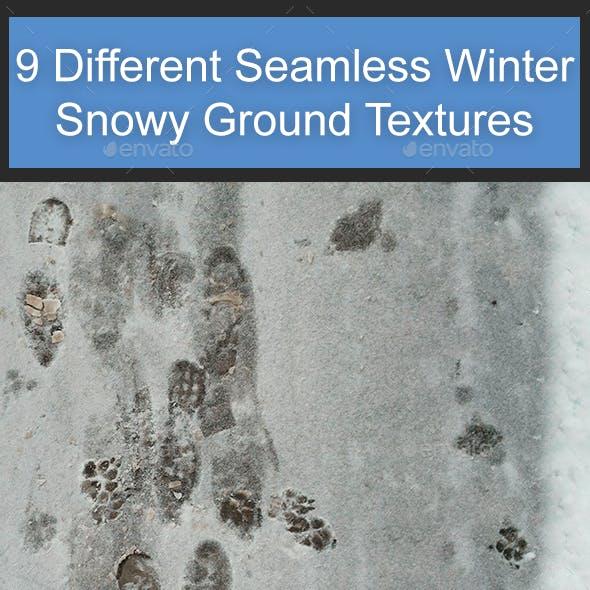 9 Different Seamless Winter Snowy Ground Textures