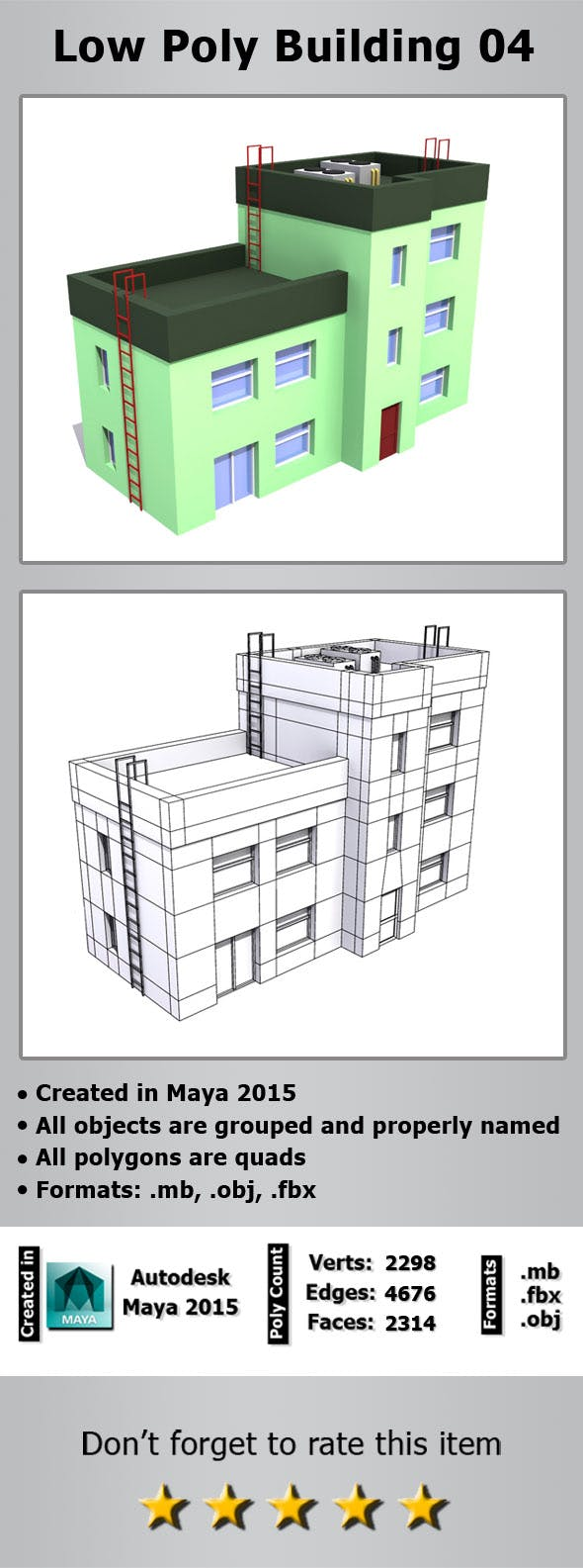 Low Poly Building 04 - 3DOcean Item for Sale