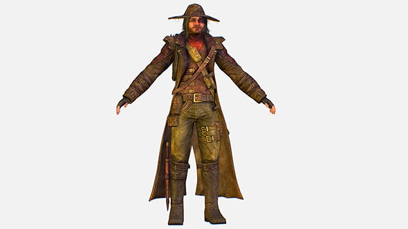 Game Character Cowboy Leather Coat Wide-Brimmed Hat - 3DOcean Item for Sale