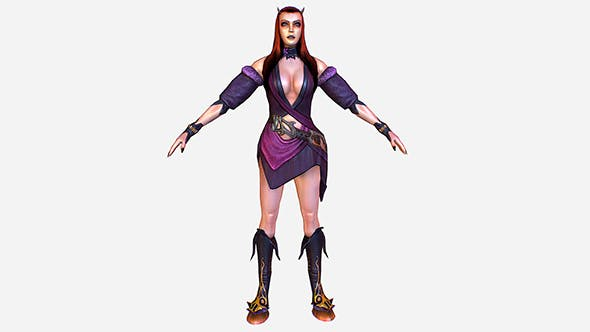 Game MMO RPG Character Armored Succub Women Elf - 3DOcean Item for Sale