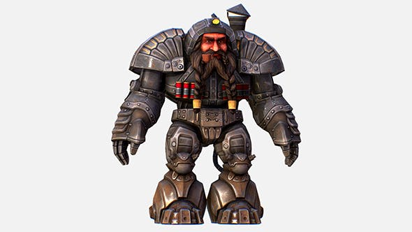 Game Character Mailed Armored Metal Gnome Robot - 3DOcean Item for Sale