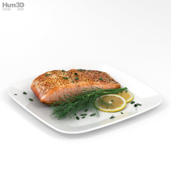 Cooked Salmon Fillet - 3DOcean Item for Sale