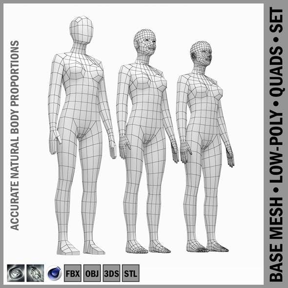 Female Base Mesh Natural Proportions in Rest Pose