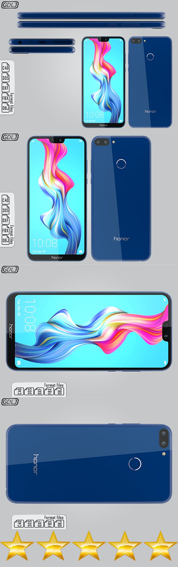 Huawei Honor 9N Sapphire Blue - 3DOcean Item for Sale