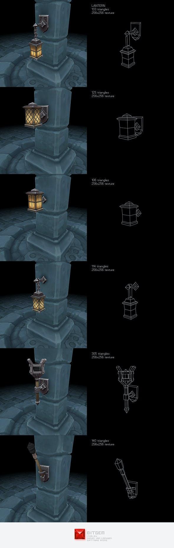 Low Poly Lantern Set - 3DOcean Item for Sale