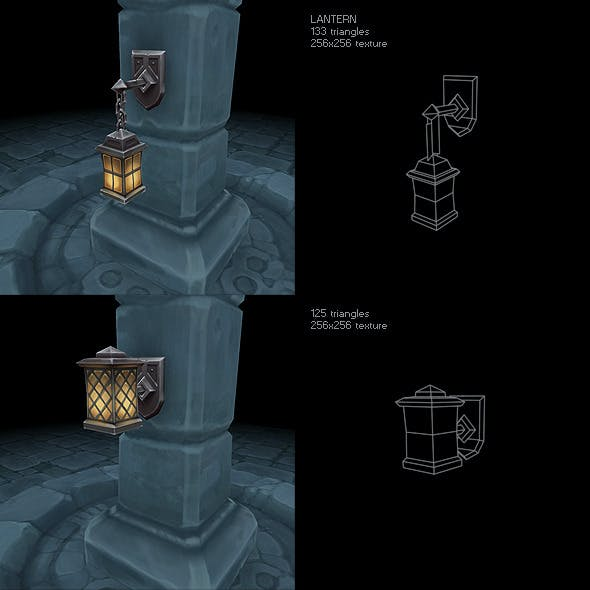 Low Poly Lantern Set