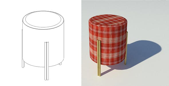 Stool with Customizable Materials - 3DOcean Item for Sale