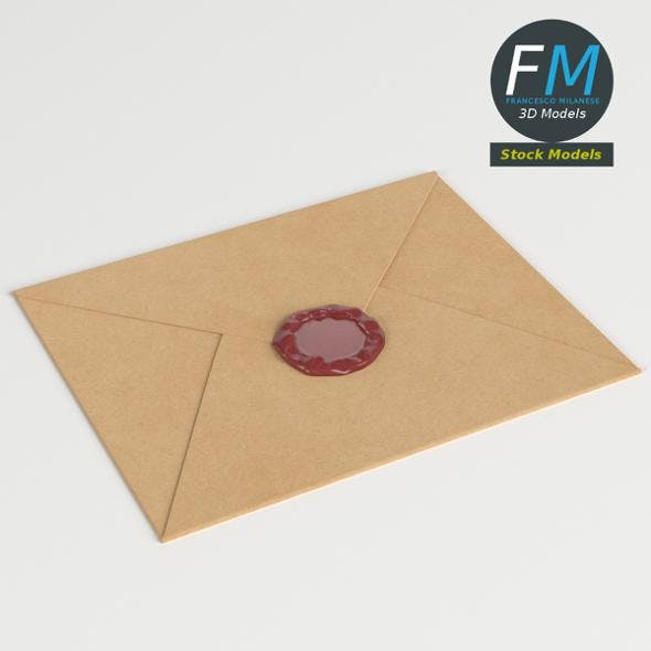 Closed envelope with sealing wax - 3DOcean Item for Sale