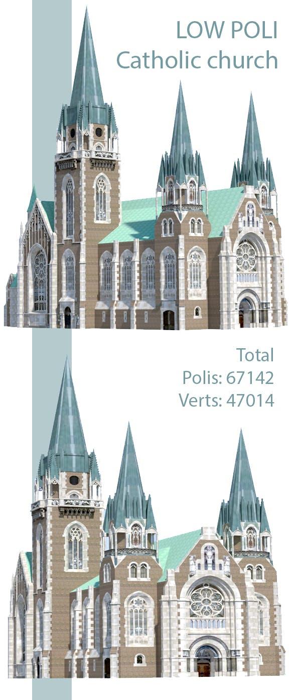 Low Poli Catholic church - 3DOcean Item for Sale
