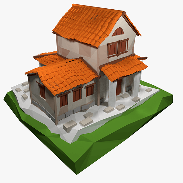 Lowpoly Ancient Roman House - 3DOcean Item for Sale