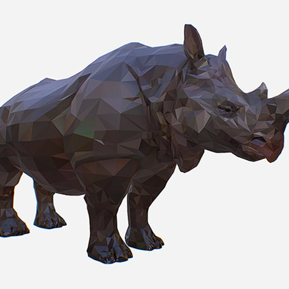 Lowpolygon Art African Animal Rhino