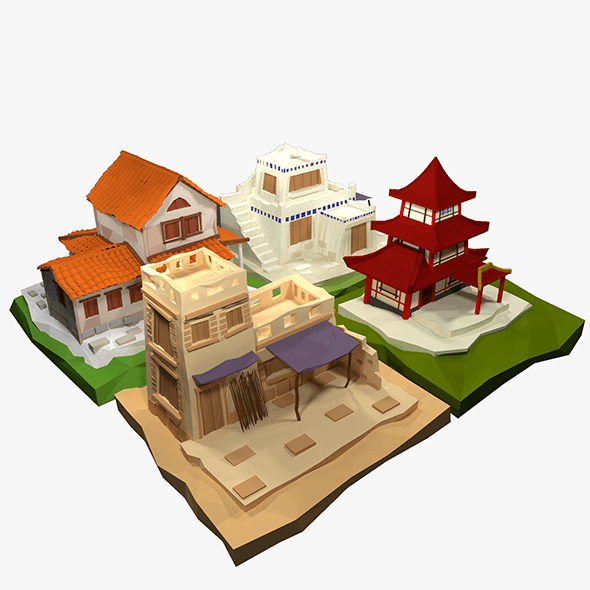 Low Poly Ancient House Collection - 3DOcean Item for Sale
