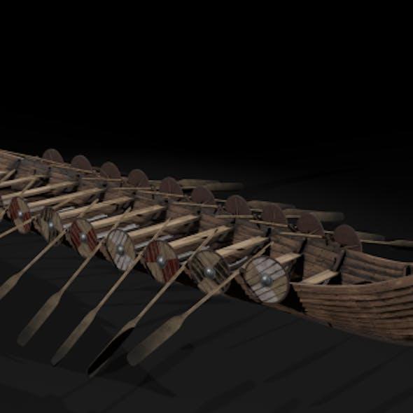 The Kvalsund vikings Ship low-poly