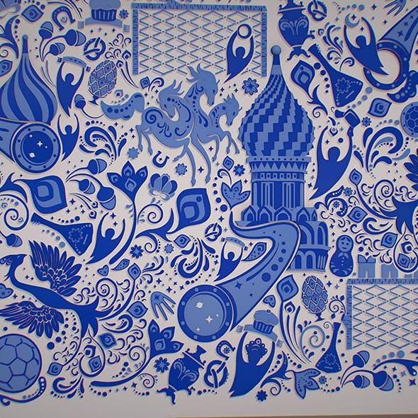 Russian geometric tile ornament decoration - 3DOcean Item for Sale