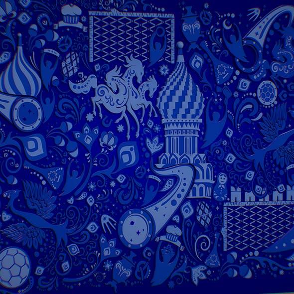 Russian geometric tile ornament decoration blue