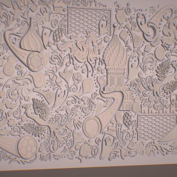 Russian geometric tile ornament decoration beige - 3DOcean Item for Sale