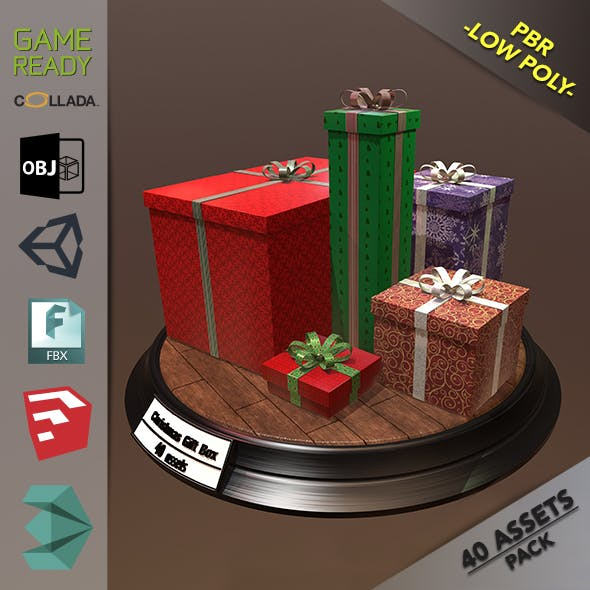 Christmas Gift Box Pack1 - 3DOcean Item for Sale