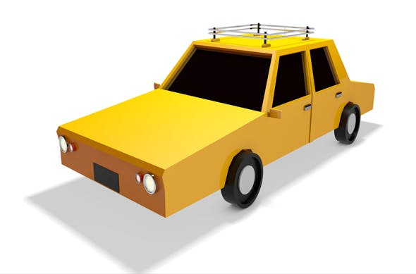 Low Poly Taxi Car 3d Model - 3DOcean Item for Sale