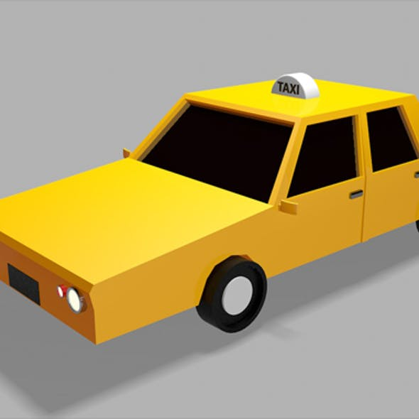 Low Poly Taxi Car 3d Model