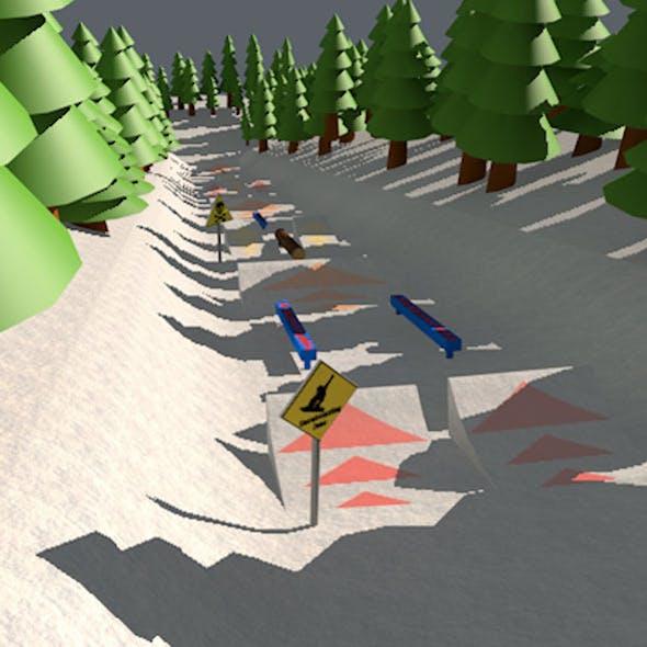 Snow park cartoon