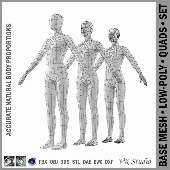 Female Base Mesh Natural Proportions in A-Pose - 3DOcean Item for Sale