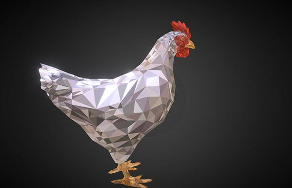 Christmas Chicken White Low Polygon Art Bird - 3DOcean Item for Sale