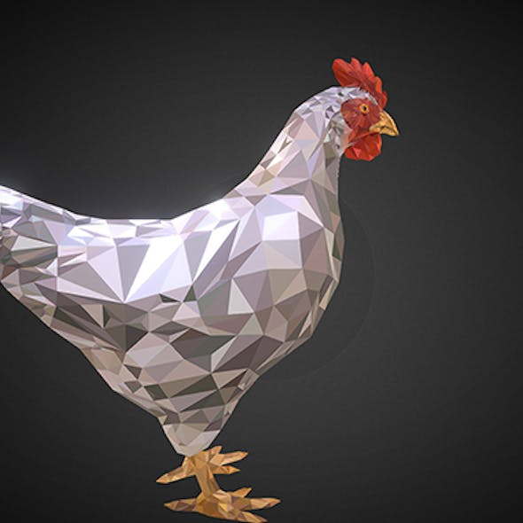 Christmas Chicken White Low Polygon Art Bird