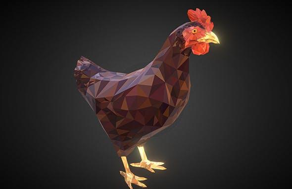 Christmas Chicken Brown Low Polygon Art Bird - 3DOcean Item for Sale