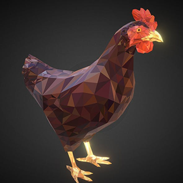 Christmas Chicken Brown Low Polygon Art Bird