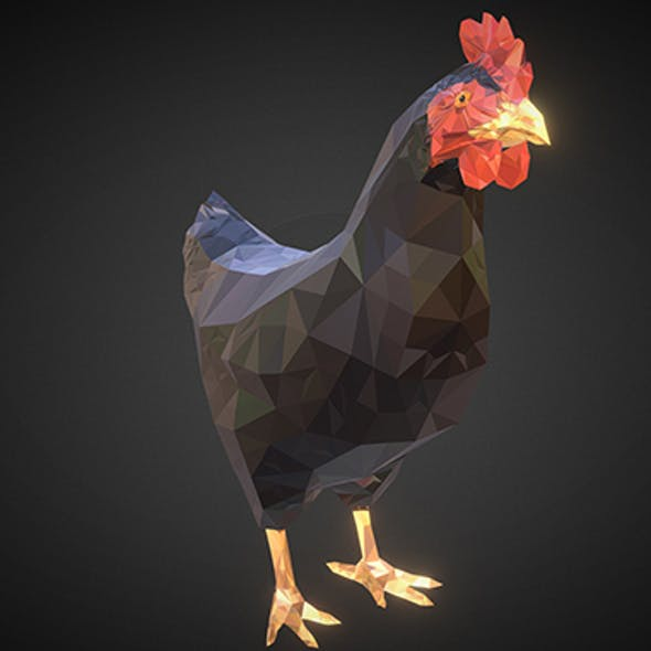Christmas Chicken  Dark Black Low Polygon Art Bird