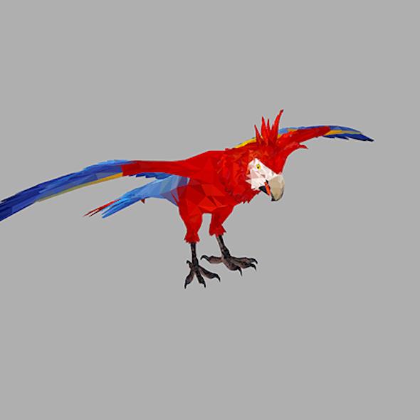low poly art Red Parrot Bird
