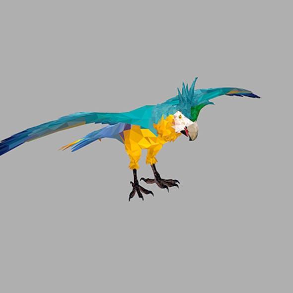 Low Poly Art Blue Parrot Bird