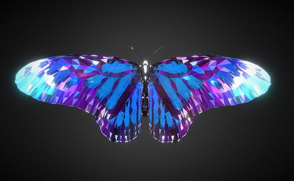 Batterfly Blue Low Polygon Art Insect - 3DOcean Item for Sale