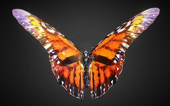 Butterfly Orange Low Polygon Art Insect - 3DOcean Item for Sale