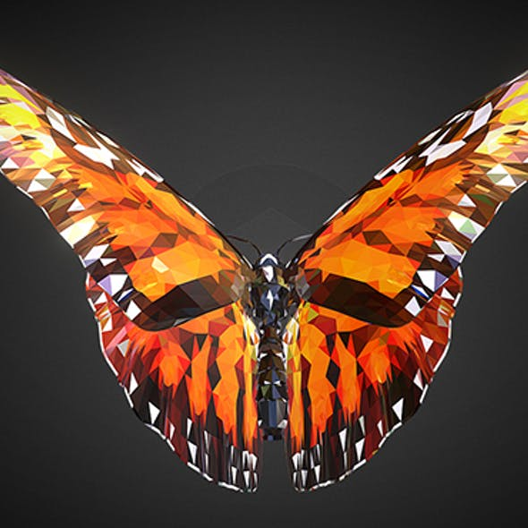 Butterfly Orange Low Polygon Art Insect