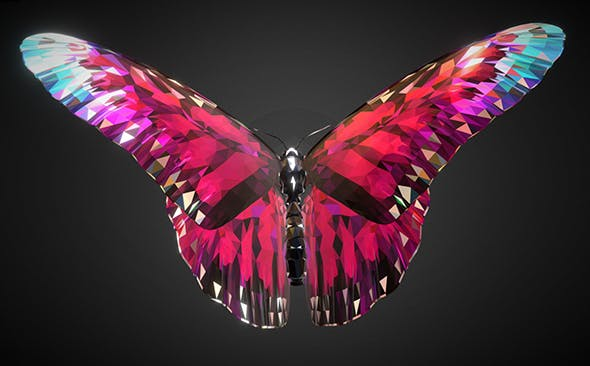 Batterfly Pink Low Polygon Art Insect - 3DOcean Item for Sale