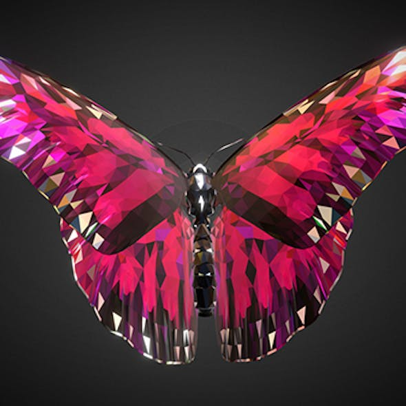 Batterfly Pink Low Polygon Art Insect