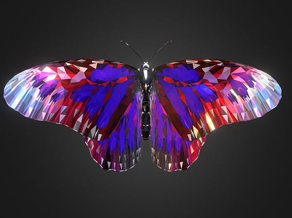 Batterfly Purple Low Polygon Art Insect - 3DOcean Item for Sale